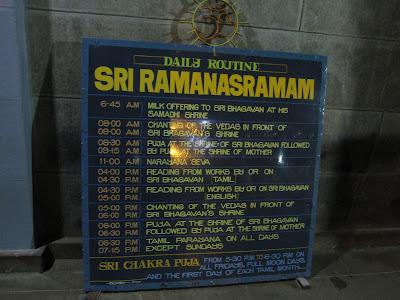 Ramana Maharshi Ashram Daily Schedule