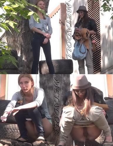 Girls peeing in public Carpark with hidden camera 03