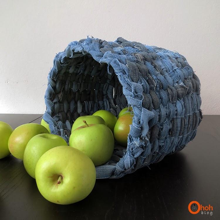 DIY recycled denim basket