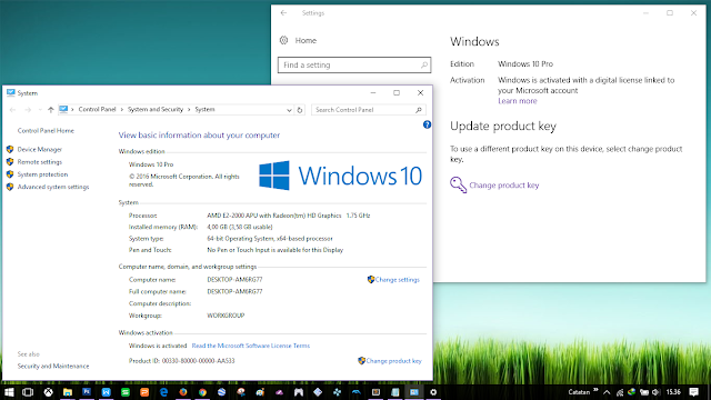 Windows 10 activated with a digital license