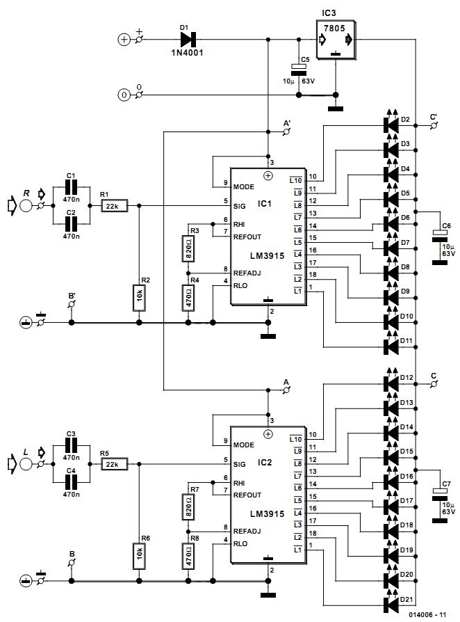 stereo led power vu meter