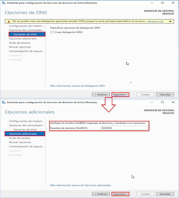 Windows Server 2016: Promocionar un servidor a controlador de dominio de Active Directory. - Nombre NetBIOS.