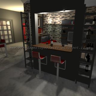 Il mobile bar separa ingresso e soggiorno in un loft in stile metropolitano