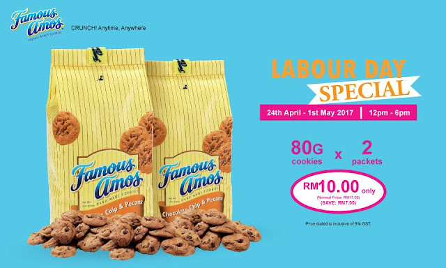 Famous Amos Cookies Malaysia Labour Day Special Discount Promo