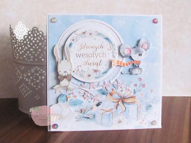 13. Kartka świąteczna na bazie freebies od Pretty Pink