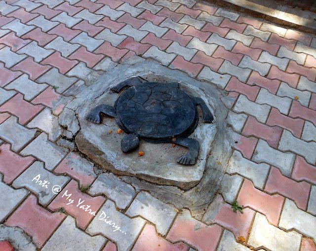 The tortoise of good fortune, Bhairavnath temple courtyard, Saswad, Pune, Maharashtra