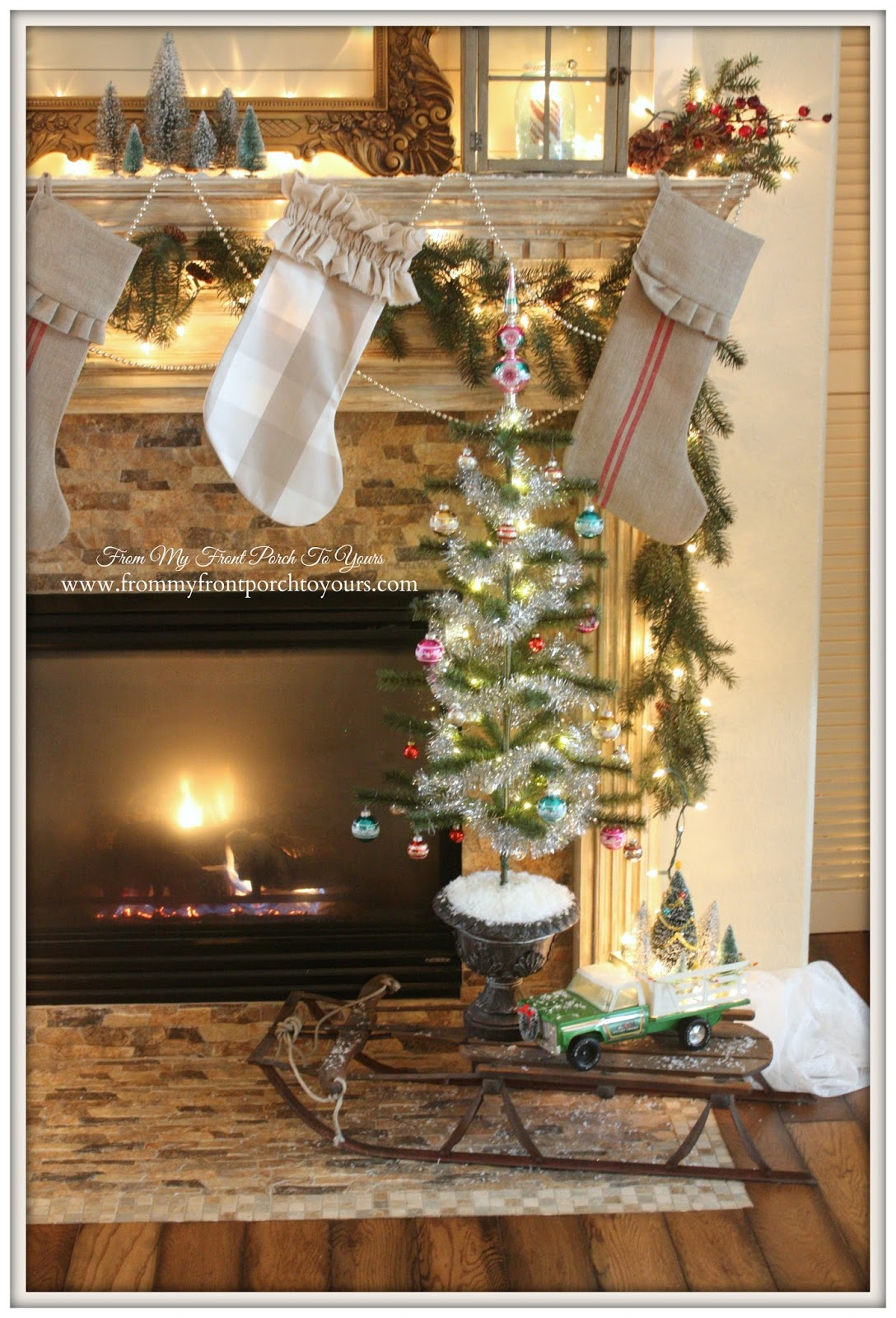Wire Brush Christmas Tree-French Farmhouse Vintage Christmas Mantel-Vintage Sled-Stockings- From My Front Porch To Yours