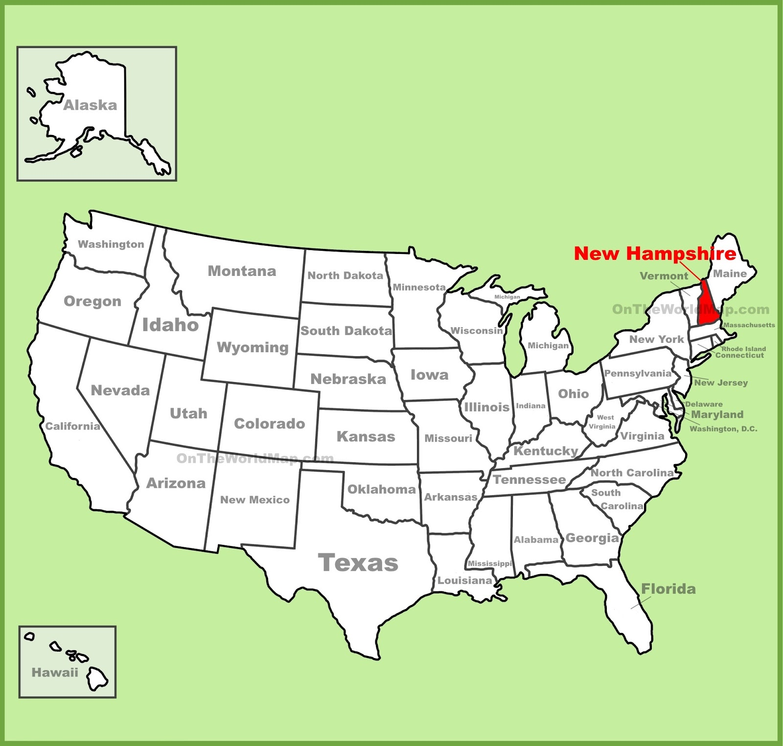 Map Of New Hampshire State Map Of America - New hampshire on us map