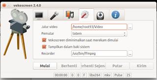 Seeting penyimpanan video vokoscreen