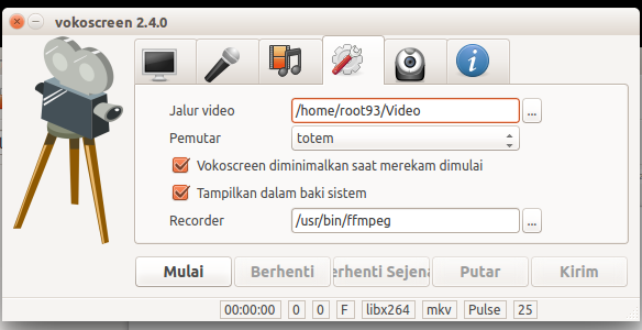 Seeting penyimpanan video vokoscreen
