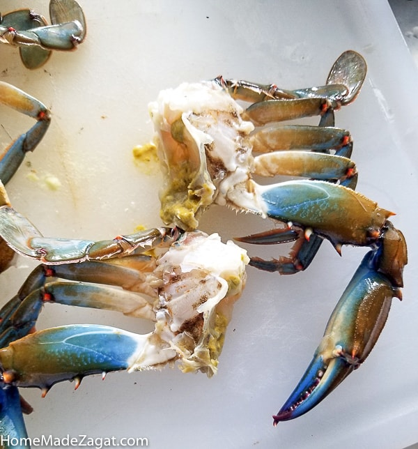 Blue crab cleaned and cut in two