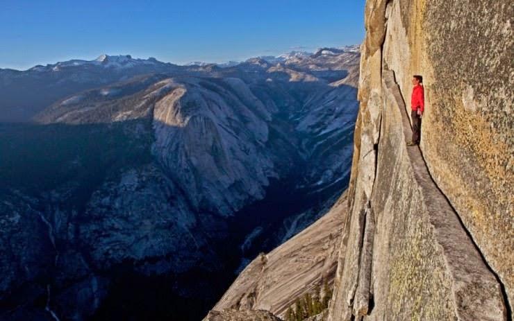 Free Rope Climbing Half Dome In Yosemite Usa Snow