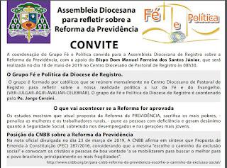 Assembleia Diocesana de Registro-SP convida Samuel Moreira, Paulo Teixeira e Auditor Fiscal da Receita para explicarem a Reforma da Previdência