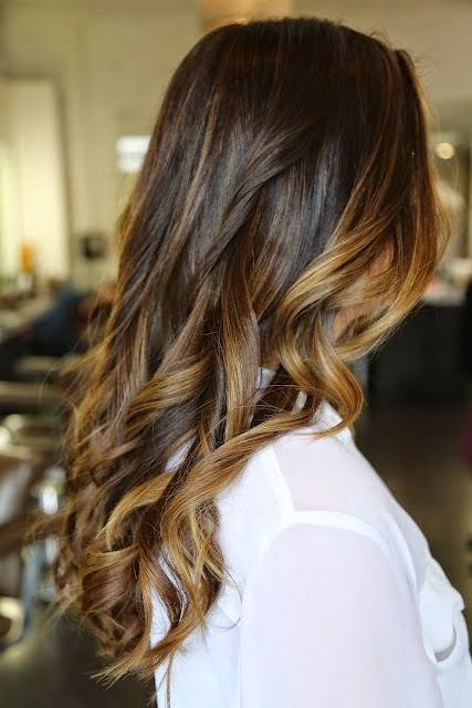Brunette with carmel highlights perfect summer color