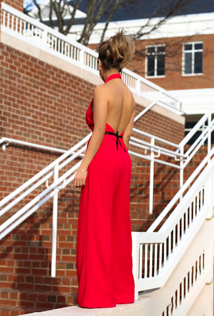 Deep v- neck and open backless red jumpsuit