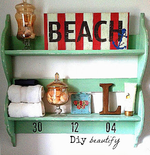 Upcycled Chippy Wall Shelf for $2 www.diybeautify.com