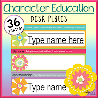 Character Education Desk Plates