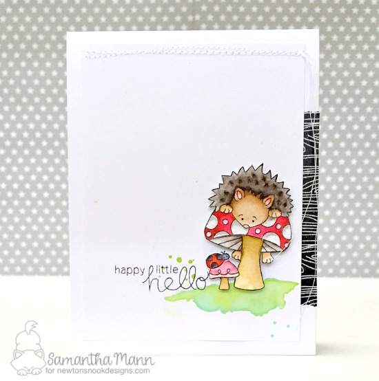 Happy Little Hello Hedgehog Card by Samantha Mann| Hedgehog Hollow Stamp set by Newton's Nook Designs #newtonsnook #hedgehog