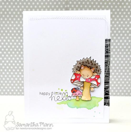 Happy Little Hello Hedgehog Card by Samantha Mann| Hedgehog Hollow Stamp set by Newton's Nook Designs #newtonsnook #hedgehog