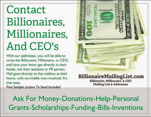 Contact billionaires, millionaires, and CEO's
