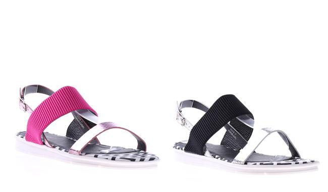 Sandale de vara cu talpa joasa lejere negre, roz