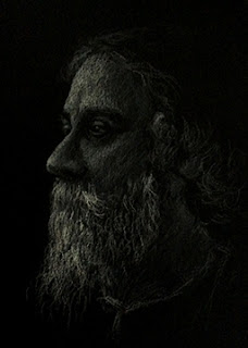 Portrait study sketch of Rabindranath Tagore by Manju Panchal