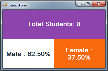C# Students Information System Source Code - statics - male students