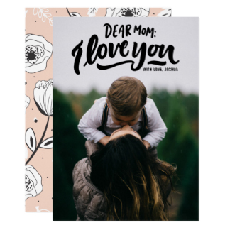 Mother's Day Postcards - Dear Mom I Love You Hand Lettering Mother's Day Card Personalized