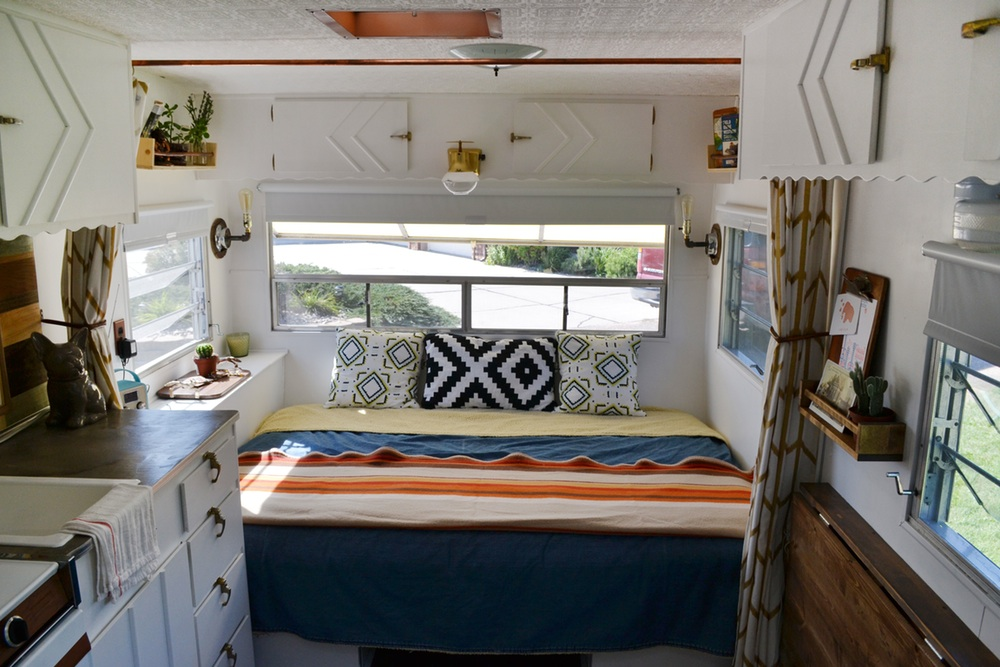 Tiny house town elsie a 120 sq ft remodelled trailer for Rv square footage