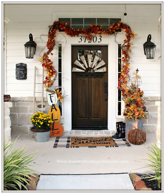 Fall Porch Decorations-Fall Y'all Sign-Decor Steals-Grapevine-Mums-Front Door-From My Front Porch To yours