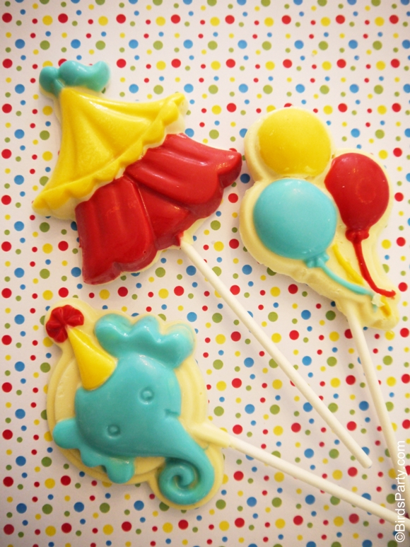 Big Top Circus Party | DIY Chocolate Lollipop Favors - BirdsParty.com