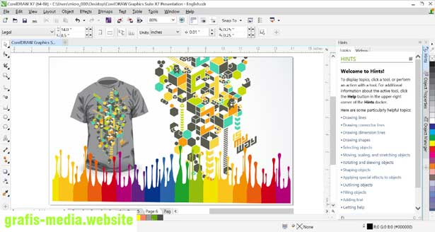 tampilan workspace coreldraw