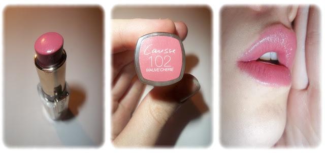 Swatch Rouge à Lèvres Caresse - L'Oréal - Teinte Mauve Chérie