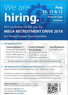 MEGA Recruitment Drive 2018 200 Jobs in HCL, Lucknow Barabanki
