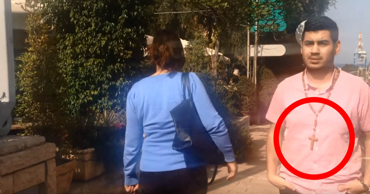 Israel: Fearless Man Takes to the streets while wearing cross to test media's lies about