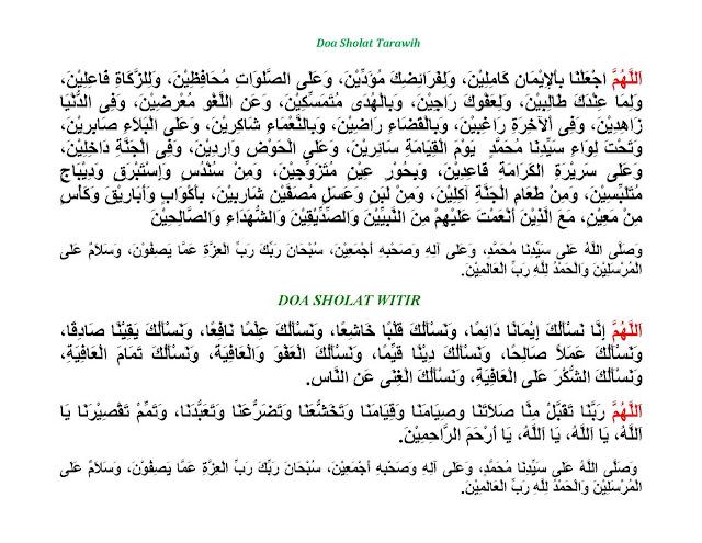Doa Setelah Shalat Tarawih dan Setelah Shalat Witir