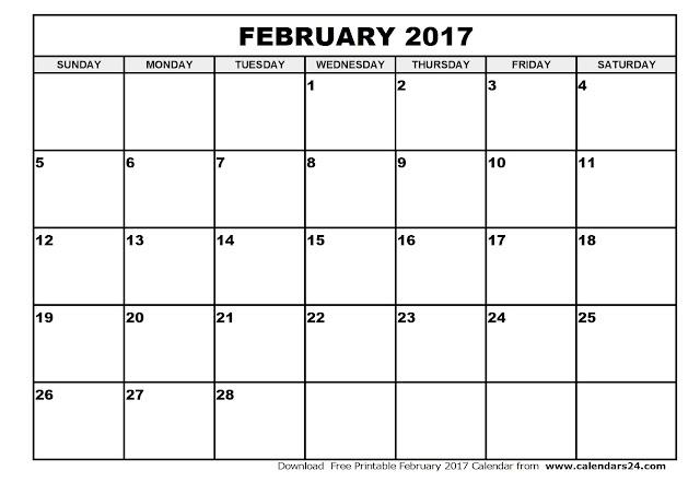 February 2017 Calendar, 2017 Calendar. Calendar 2017, Monthly Calendar ...