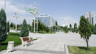 Turkmenistan is rich. At least the president. He builds nice parks for the people who are not there.