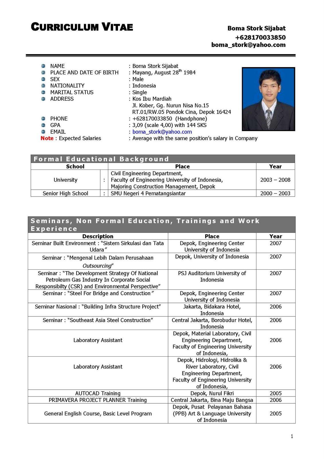Format Cv Yang Benar Professional Resume Cv Maker