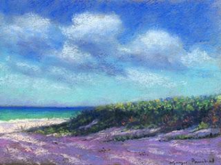 Soft pastel painting of a morning scene at Vaddi beach at Goa, By Manju Panchal