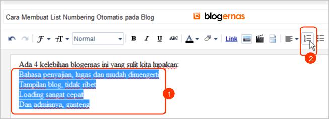 Cara Membuat List Numbering Otomatis pada Blog