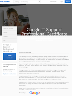 IT Support Professional Certificate Course By Google - Coursera