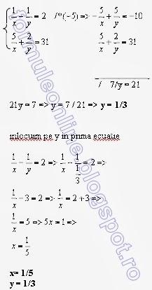 Sisteme de ecuatii de gradul 1 cu 2 necunoscute