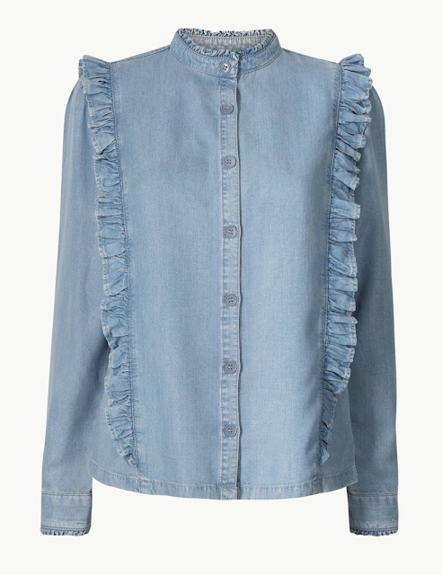 marks and spencer denim ruffle shirt