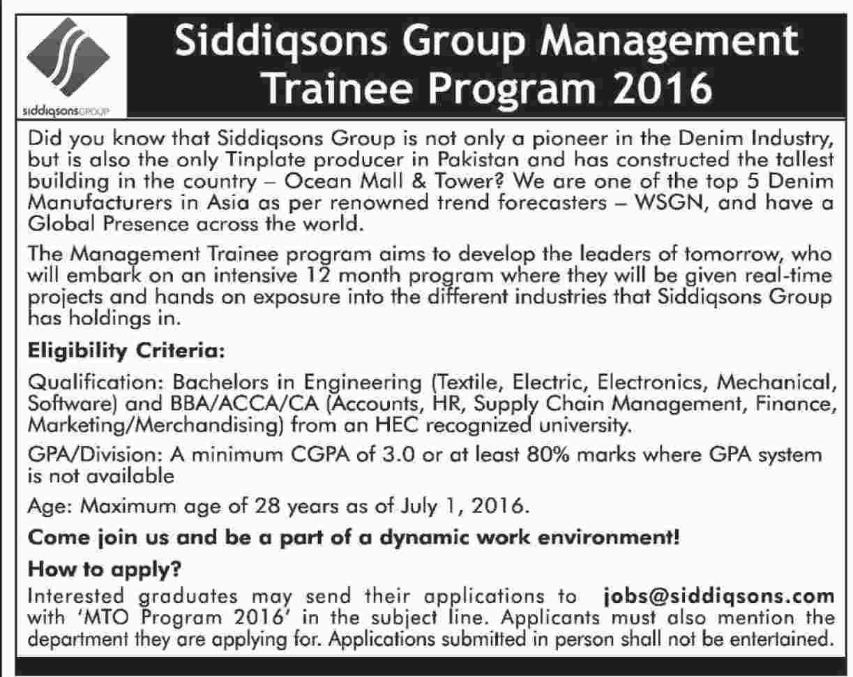 Siddiqsons Management Trainee Program 2016 ~ Jobs in Pakistan