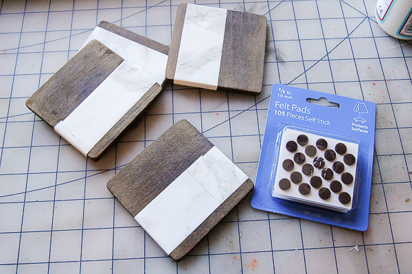 Adding felt pads to wood and faux marble coasters