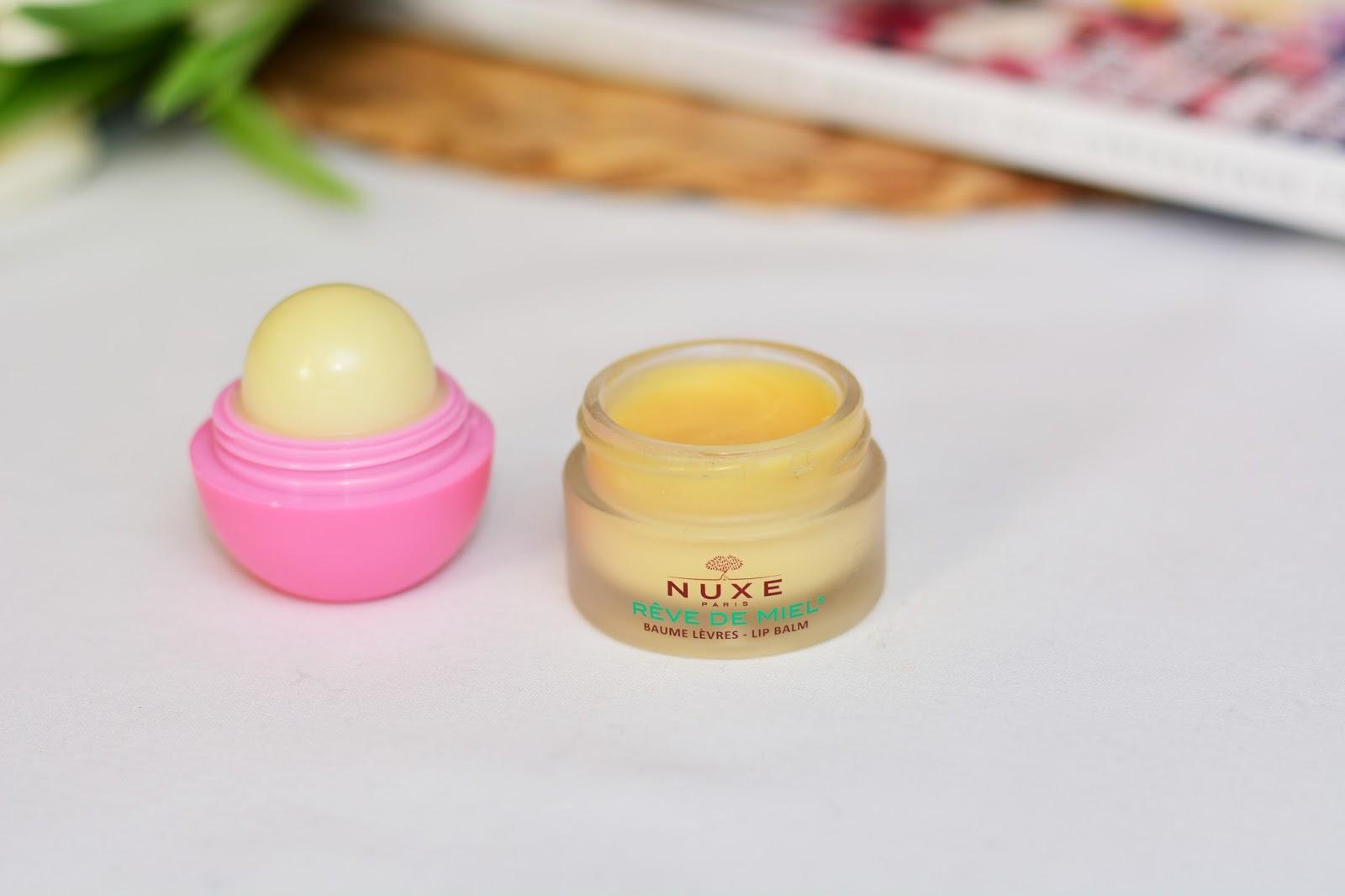 NUXE Rêve de Miel vs EOS Organic Lip Balm