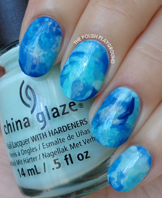 Multi Blue Stamping Marble Nail Art