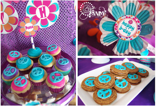 peace sign cupcakes, chocolate peace signs, peace party food ideas