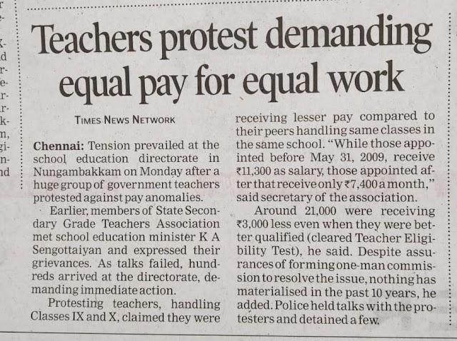 Teachers protest demanding equal pay for equal workwork